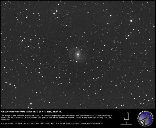 PSN J20372558+6607115 in NGC 6951. 31 Mar. 2015