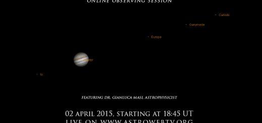 """Shadows around Jupiter: Callisto eclipses Ganymede"": poster of the event (2 Apr. 2015)"