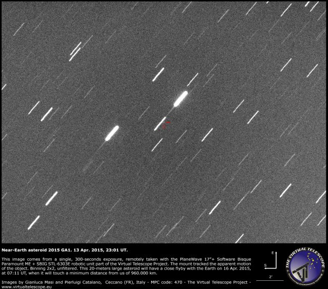 Near-Earth Asteroid 2015 GA1: 13 Apr. 2015