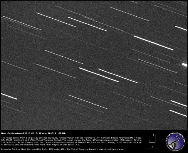 Near-Earth Asteroid 2015 HD10: an image (28 Apr. 2015)