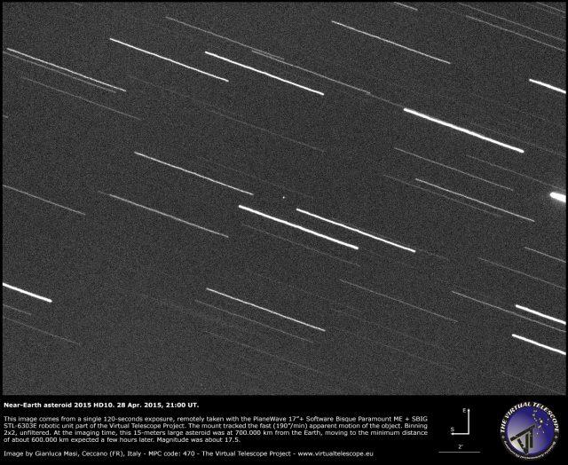 Near-Earth Asteroid 2015 HD10: an image (28 Apr. 2015)