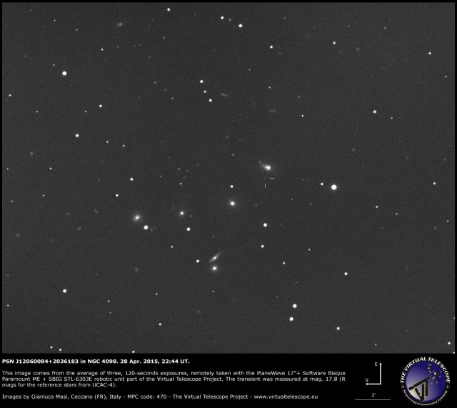 PSN J12060084+2036183 in NGC 4098: 28 Apr. 2015
