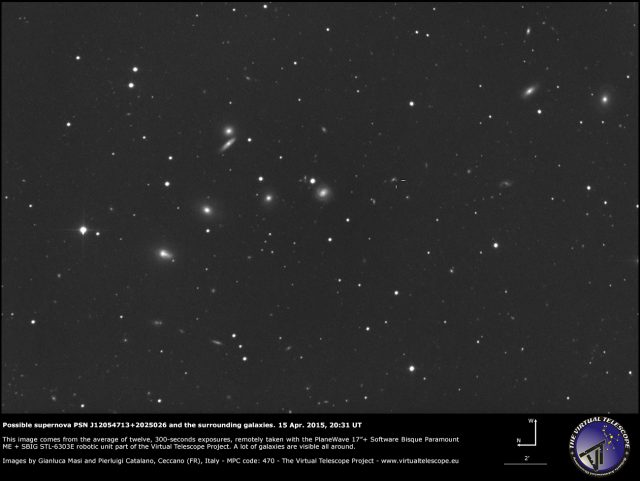 PSN J12054713+2025026 and a plethora of galaxies all around: 15 Apr. 2015