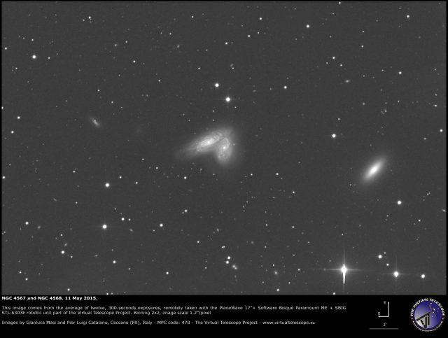 NGC 4567, NGC 4568 and NGC 4564: an image (10 May 2015)