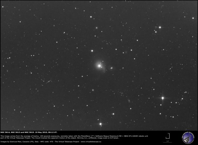 Arp 178: NGC 5614 (center of the image)  NGC 5613 (right) and NGC 5615 (on NGC 5614's halo): an image (19 May)