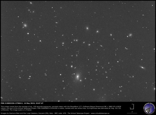 Possible Supernova PSN J13003230+2758411: an image (14 May 2015)