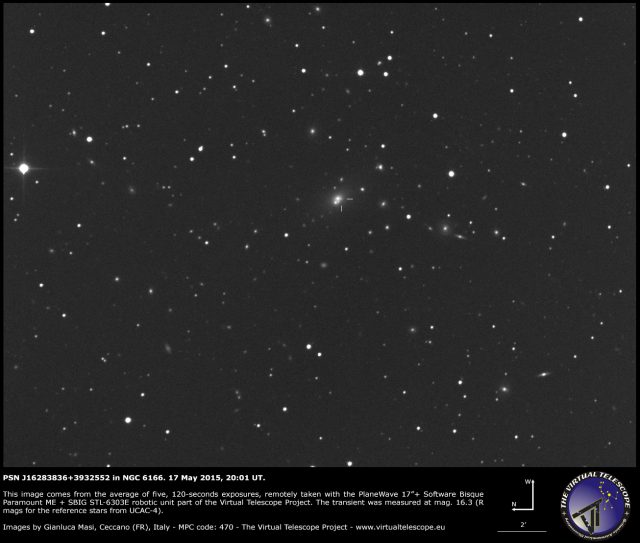 Possible Supernova PSN J16283836+3932552 in NGC 6166: an image (17 May 2015)