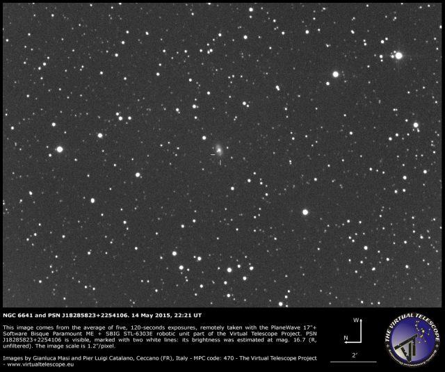 PSN J18285823+2254106 in NGC 6641: an image (14 May 2015)