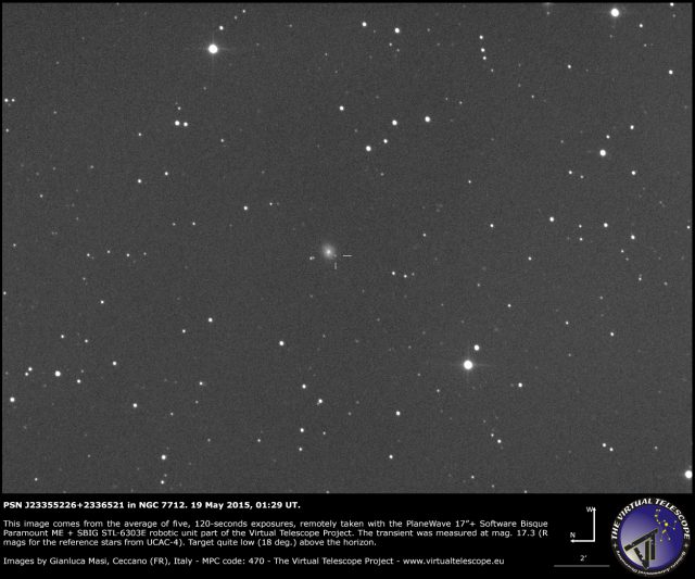 Possible Supernova PSN J23355226+2336521 in NGC 7712: an image (19 May 2015)