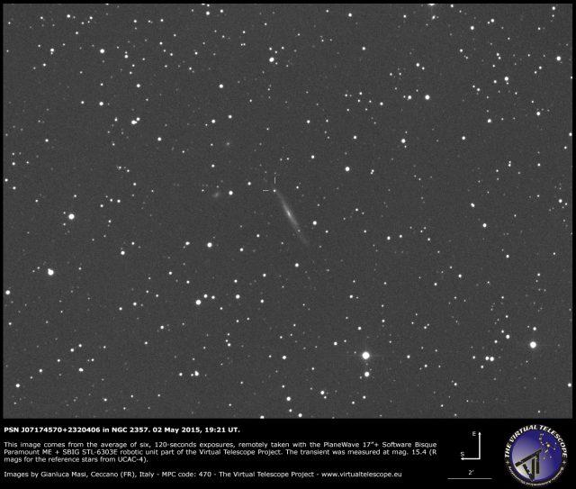 PSN J07174570+2320406 in NGC 2357: an image (2 May 2015)