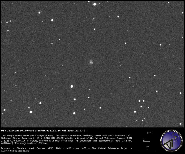 Supernova PSN J12040516+1404059 in PGC 038162: an image (24 May 2015)