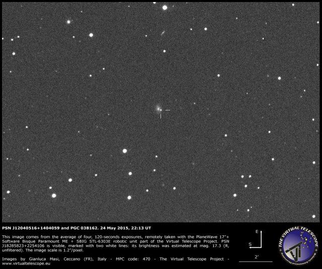Supernova PSN J12040516+1404059 in PGC 038162: an image (24 May 2015)