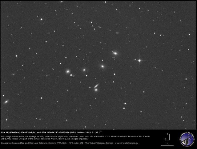 PSN J12060084+2036183 and PSN J12054713+2025026: an image (10 May 2015)