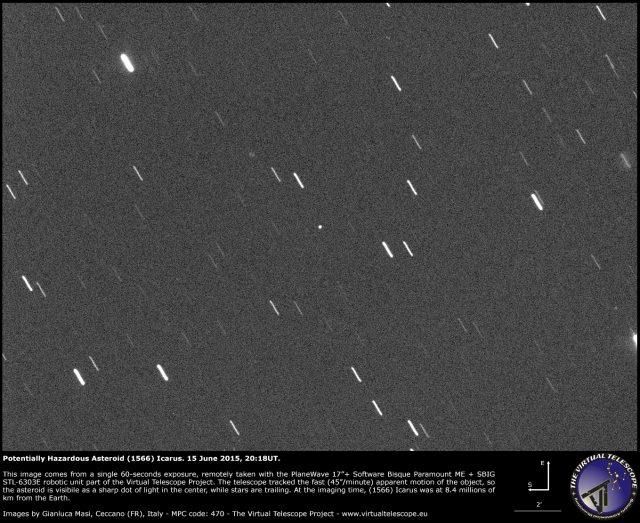 Potentially Hazardous Asteroid (1566) Icarus rare close encounter: an image (15 June 2015)