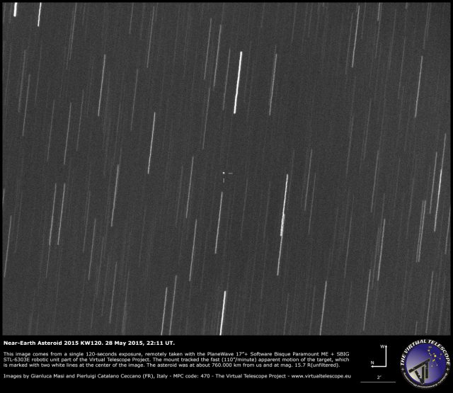 Near-Earth asteroid 2015 KW120: an image (28 May 2015)