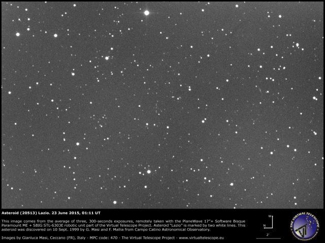 Asteroid (20513) Lazio: an image (23 June 2015)