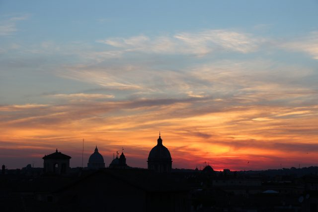 A close-up on S. Peter (left) and other domes at sunset: 29 June 2015