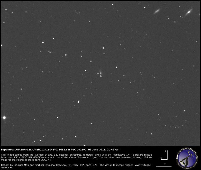 Supernova ASASSN-15kn/PSNJ12415045-0710122 in PGC 042600: 09 June 2015