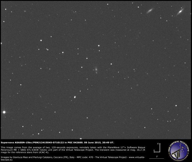 Supernova ASASSN-15kn/PSNJ12415045-0710122 in PGC 042600: 09 June 2015