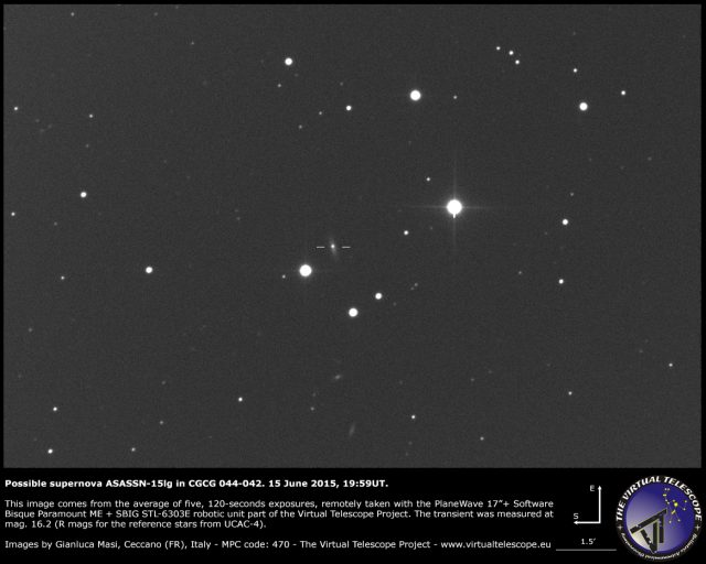 Possible supernova ASASSN-15lg in CGCG 044-042: an image (15 June 2015)
