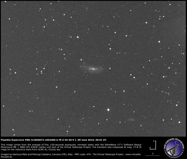 Possible Supernova PSN J12503072-1052405 in M-2-33-20 9 1: an image (09 June 2015)