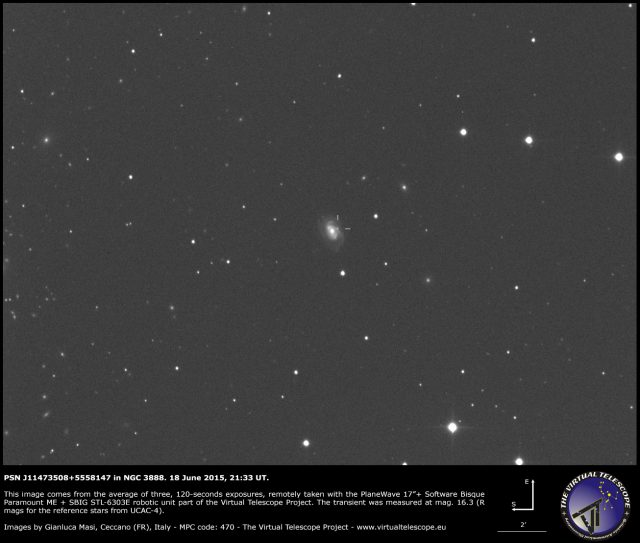 Possible supernova PSN J11473508+5558147 in NGC 3888: an image (18 June 2015)