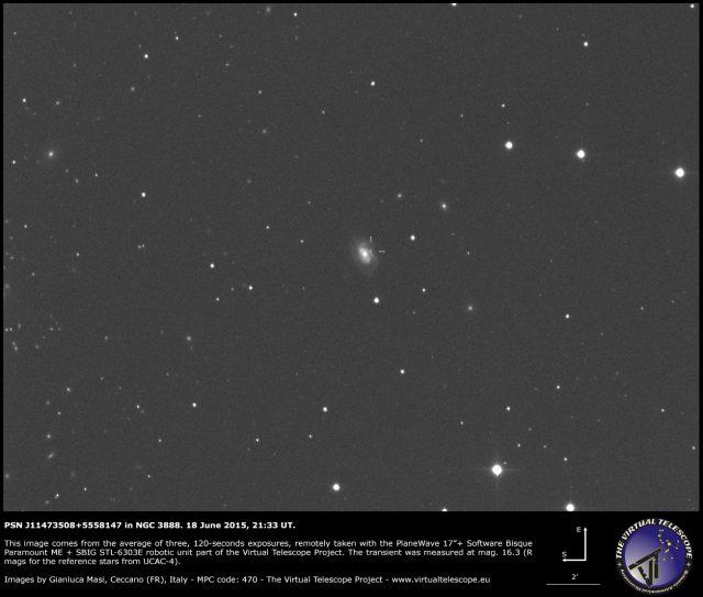 Possible supernova PSN J11473508+5558147 in NGC 3888: an image (18 June 2015)