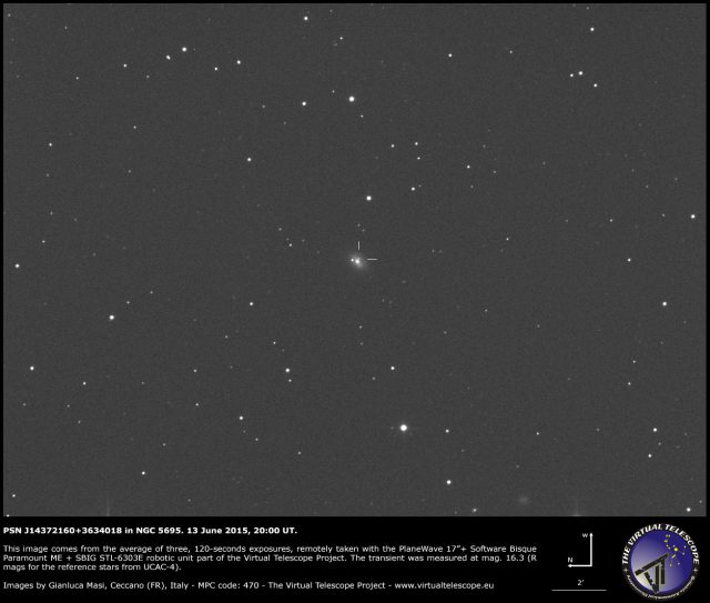 Supernova PSN J14372160+3634018 in NGC 5695: an image (13 June 2015)