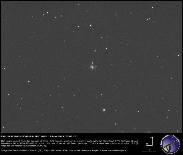 Supernova PSN J14372160+3634018 in NGC 5695: an image (13 June 2015)