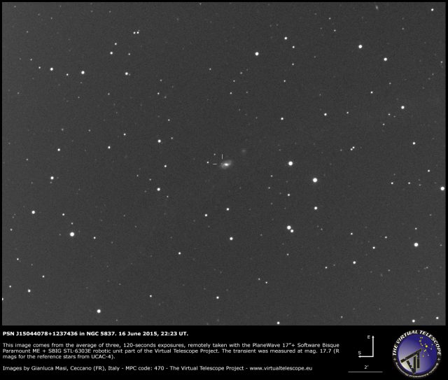 Possible Supernova PSN J15044078+1237436 in NGC 5837: an image (16 June 2015)