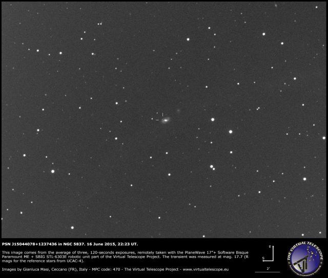Possible Supernova PSN J15044078+1237436 in NGC 5837: an image (16 June 2015)