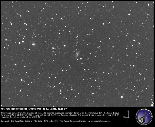 Possible supernova PSN  J17162885+0625585 in UGC 10779: an image (13 June 20145)