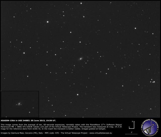 Possible Supernova ASASSN-15kk in UGC 04883: an image (5 June 2015)