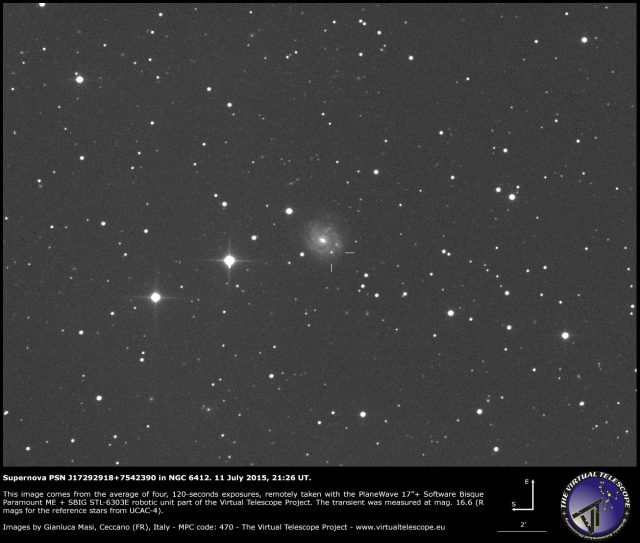 Supernova PSN J17292918+7542390 in NGC 6412: 11 July 2015