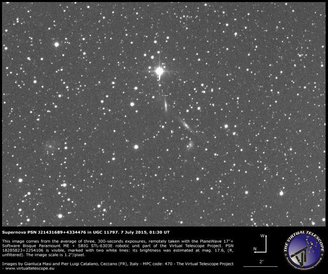 Supernova PSN J21431689+4334476 in UGC 11797: 7 July 2015