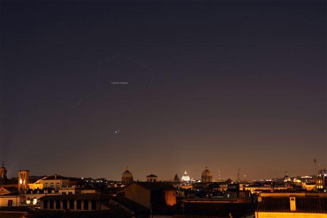Venus and Jupiter shine in front of the Lion's mane: 01 July 2015