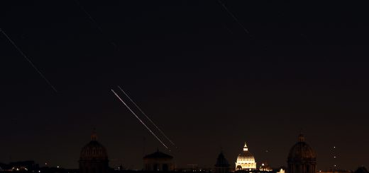 Venus, Jupiter, stars and airplanes are moving above S. Peter, Rome: 1 July 2015