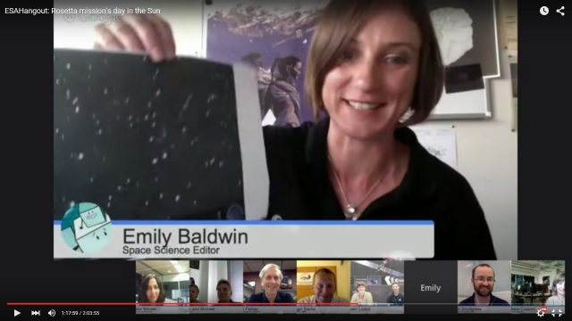 Emily Baldwin (ESA) showing  our world first image after perihelion.