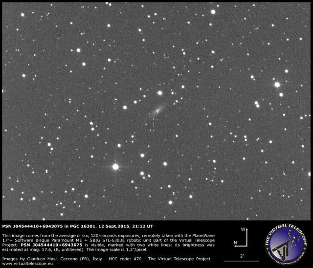 PSN J04544410+6943075 in PGC 16301: 12 Sept. 2015