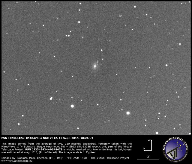 PSN J22343424+0548478 in NGC 7312: 19 Sept. 2015