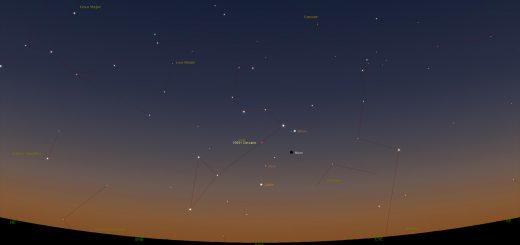 9 Oct. 2015: the Moon meets Venus, Jupiter and Mars in Leo