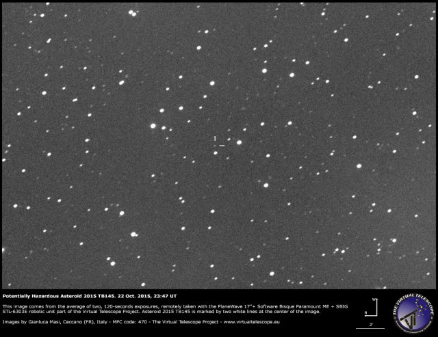Potentially Hazardous Asteroid 2015 TB145: 22 Oct. 2015