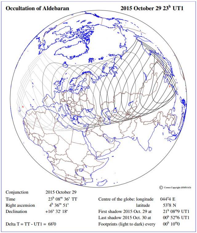 29 Oct. 2015 - Occultation of Aldebaran - Visibility (USNO)