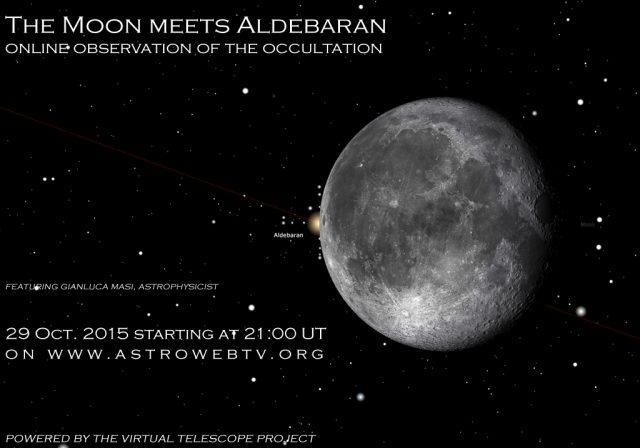 29 Oct. 2015, the Moon meets Aldebaran: online session