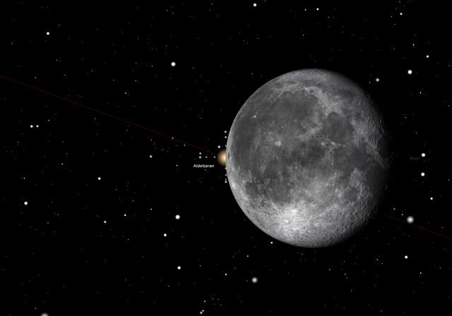 Rome, 29 Oct. 2015, 10:41 PM (UT+1): Aldebaran disappears behind the Moon