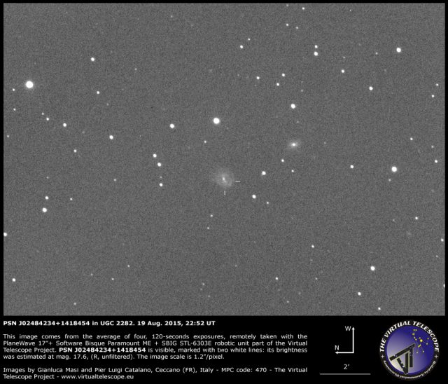 Supernova PSN J02484234+1418454 in UGC 2282: 19 Aug. 2015
