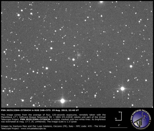 Supernova PSN J02513304+3730434 in KUG 248+373: 19 Aug. 2015