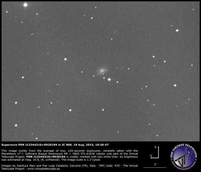 Supernova PSN J13344316+0920194 in IC 900: 19 Aug. 2015