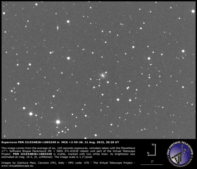 Supernova PSN J21534826+1003249 in  MCG +2-55-26: 21 Aug. 2015