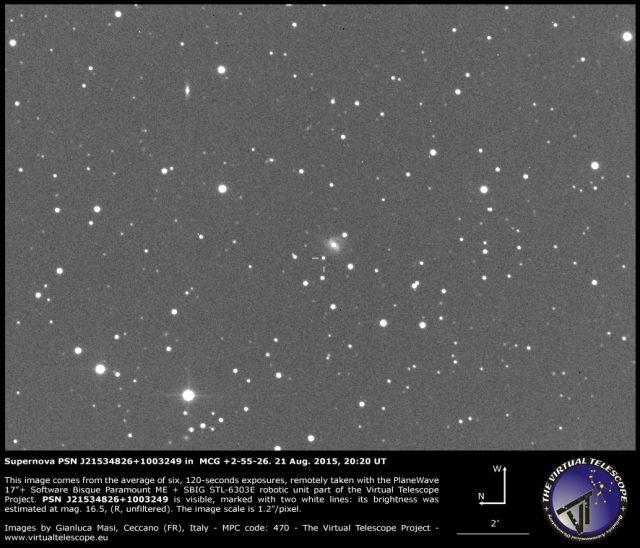Supernova PSN J21534826+1003249 in  MCG +2-55-26: 21 Aug. 2015